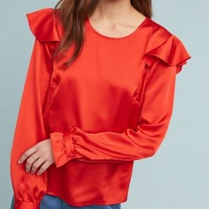 Anthropologie Cassidy satin red blouse Medium